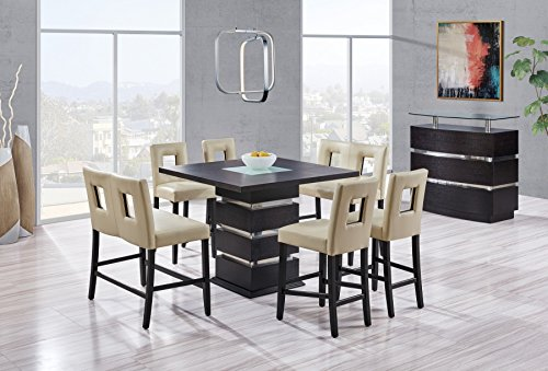Global Furniture Dining Table, Frosted/Wenge
