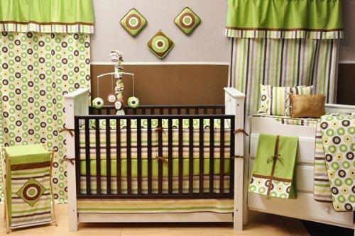 Bacati Modern Dots//Stripes Green//Chocolate Stripes Crib Fitted Sheet
