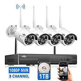 [Expandable 8CH] Hiseeu Wireless Security Camera System with 1TB Hard Drive with One-Way Audio, 8 Channel NVR 4Pcs 1080P…