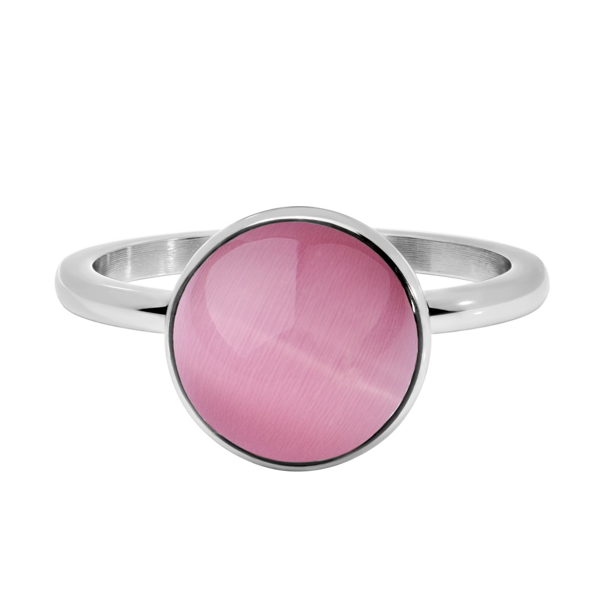 Quiges Stainless Steel Round Pink Cat Eye Stone Silver Inner Ring 2mm Height for Stacking Ring NSP036S