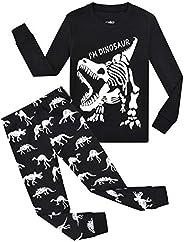 OFIMAN Toddler Pjs Dinosaur Little Boys Long Sleeve Pajamas 100% Cotton Kids Sleepwear 2T-7T