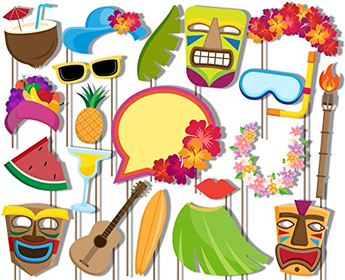 Hawaiian Luau Photo Booth Props Kit - 20 Pack Party Camera Props Fully -