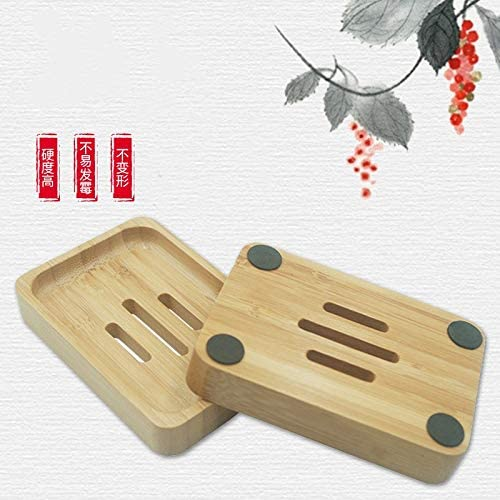 Ba/ño YKKJ Jabonera de Bamb/ú Natural de 2 Piezas Jabonera Ecol/ógica Jabonera de Madera de Bamb/ú Natural para Ducha Jabonera Artesanal con 4 Almohadillas Antideslizantes de Drenaje. Cocina