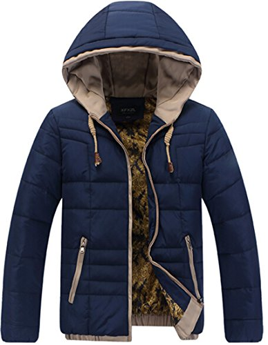 Mens Hoodie Casual blue padded Coats EKU Zipper xl Warm Jackets Cotton HTxqwd