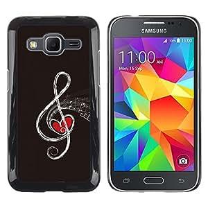 TaiTech / Prima Delgada SLIM Casa Carcasa Funda Case Bandera Cover Armor Shell PC / Aliminium - Nota musical - Samsung Galaxy Core Prime