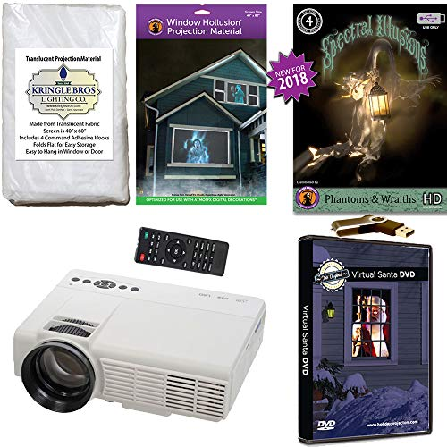 (Christmas and Halloween Digital Decoration Kit Includes 800 x 480 Resolution Projector, Hollusion (W) + Kringle Bros Rear Projection Screens, Santa in Window and Phantoms & Wraiths)