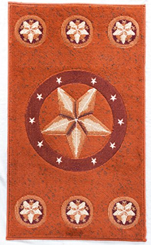 Rugs 4 Less Collection Texas Star Lone State Star Western and Western Door Mat Area Rug in Rust Deep Red Deep Orange R4L 78 Rust (2x3)