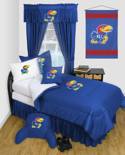 Kansas Jayhawks - Locker Room - 4 Pc QUEEN Comforter Set and One Matching Window Valance (Comforter, 2 Shams, 1 Bedskirt, 1 Matching Window Valance) SAVE BIG ON BUNDLING!