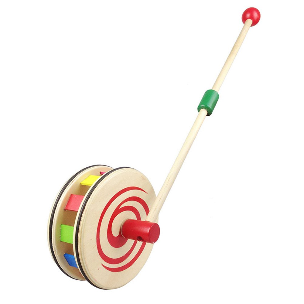 Ireav Baby Walking Toys Push Pull Rainbow Wheel Kids Infant Early Development Wooden Single Rod Hand Pushed Toy Gift