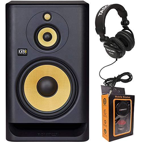 KRK RP10-3 Rokit 10-3 G4 Tri-Amp 10 Three-Way Powered Studio Monitor + TH02 Headphone + Magnet Phone Holder