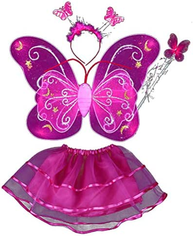 Butterfly Wings Set 4pcs Girls Fairies Double Layers Tutu Skirt Wing Magic Wand