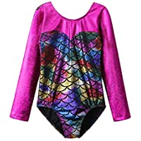 BAOHULU Girls Gymnastics Leotards Shiny Spliced Scale Dance Clothes 3-12 Years