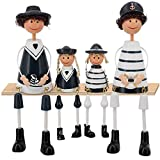 Novia's Choice 4Pcs Wooden Hanging Foot Dolls Ornaments Cute Furnishing Wooden Gift Dolls for Home Decor