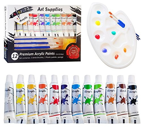 Colorona Acrylic Paint Set with Palette 3 Paint Brushes with Sponge 0.40 oz (12 Colors) for Canvas Rocks Wood Ceramic Fabric and Crafts - Great for Kids, Beginners, Students & Professional Artist