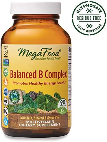 MegaFood, Balanced B Complex, Promotes Healthy Energy Levels, Multivitamin Dietary Supplement, Gluten Free, Vegan, 90 Tablets 90 Servings