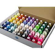 #LightningDeal Simthread 63 Brother Colors Polyester Embroidery Machine Thread Kit 40 Weight for Brother Babylock Janome Singer Pfaff Husqvarna Bernina Embroidery and Sewing Machines 550Y