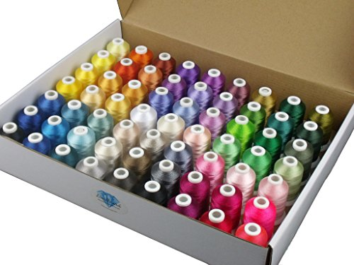 Simthread 63 Brother Colors Polyester Embroidery Machine Thread Kit 40 Weight for Brother Babylock Janome Singer Pfaff Husqvarna Bernina Embroidery and Sewing Machines 550Y 40 Wt Rayon Thread