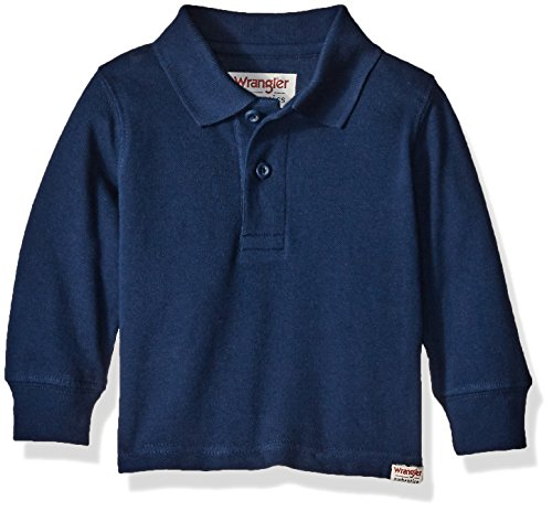 Wrangler Authentics Toddler Boys' Long Sleeve Knit Polo, Navy, 3T