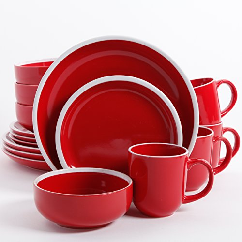 Gibson Home 91899.16RM Orofino 16 Piece Dinnerware Set, Red