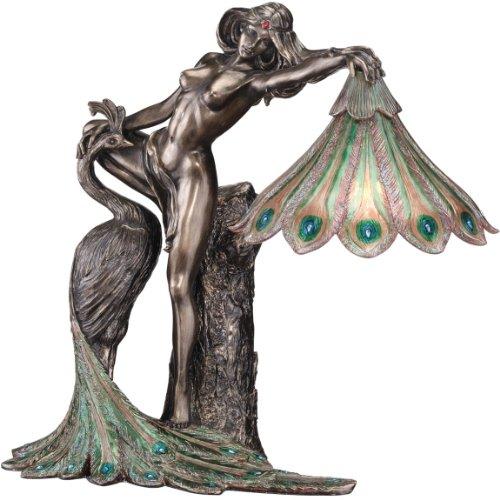 "15"" Classic Art Nouveau Nude Peacock Goddess Bronze Sculpture Statue Table La..."