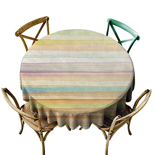 Round Tablecloth Vinyl Fitted Pastel,Horizontal Watercolors Stripes Acrylic Artistic Elements Liquid Brushstrokes Print, Multicolor D54,for Umbrella Table ()
