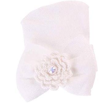 Ularma Newborn Hospital Hat Newborn Baby Hats With Pretty Bow Flower Pearl  (White) b011ca1fe72
