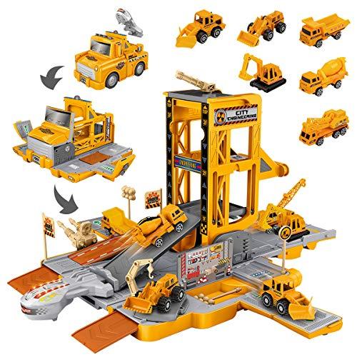 UNIH 건축 차량은 트럭을 위한 장난감 3 4 5 세 남자와 여자 변형 엔지니어링 자동차 장난감으로 빛과 소리 굴착기 시멘트는 기계 불도저밴 탱크 트럭