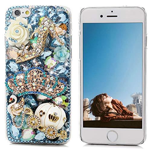 iPhone 6 Case 4.7, iPhone 6S Case - Maviss Diary 3D Handmade Bling Blue Diamond Crown Gold Pumpkin Car High-Heeled Shoe Cute Swan Colorful Flowers Shiny Rhinestone Gems Clear Hard PC Cover
