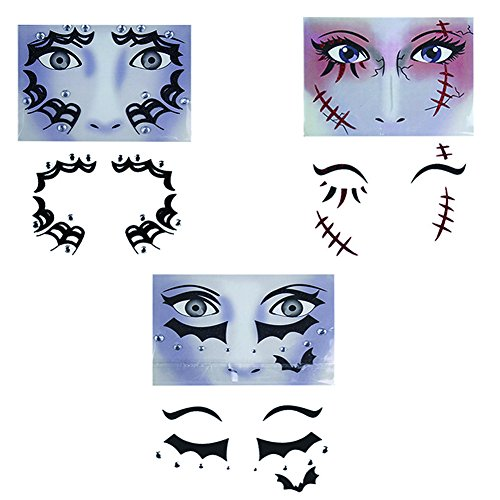 Temporary Face and Eyes Sticker, The Best for Halloween | Masquerade | Cosplay etc, Makeup Face Tattoo Paster Kit (Type (Best Type Of Makeup For Halloween)