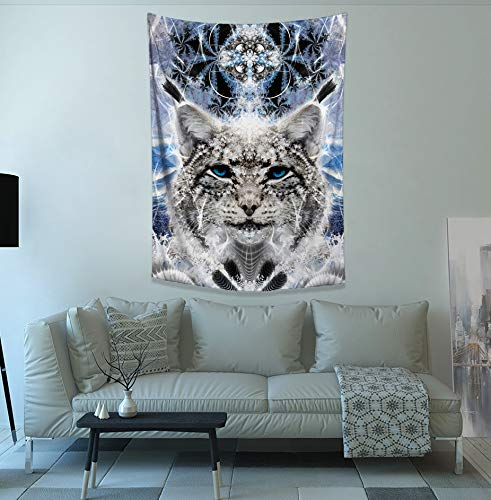 Dorm Room Wall Decoration Wellsucceed Psychedelic Spirit Animal Wall Hanging Cat Home Decor Blue Fractal Wall Art Bright Winter Home Decor Lucid Eye Studios Ice Lynx Tapestry