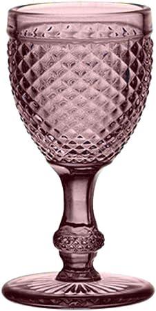 EME Mobiliario Copa de Cristal Tallado Picos en Color Rosa Set 6 Unidades