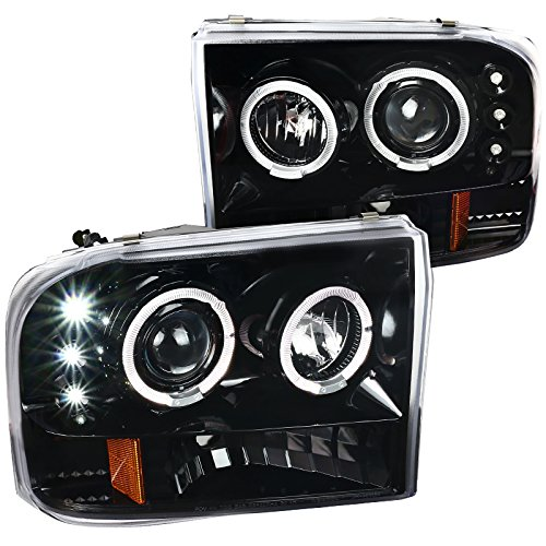 (For Ford F250 F350 F450 F550 Super Duty LED Halo Jet Black Projector Headlights Pair)