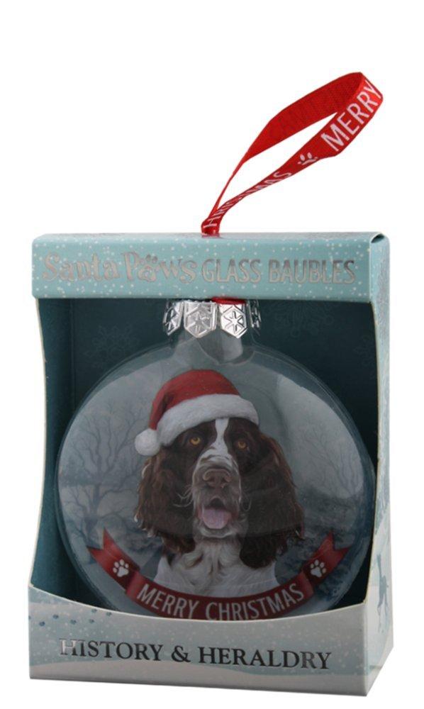 H/&H Santa Paws Glass Bauble English Springer Spaniel