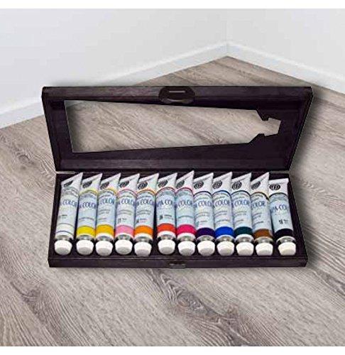 FERRARIO Colori acrilici APA Color 12x20 ml - Colori ACRILICI, Scatola in Legno, 20 ML