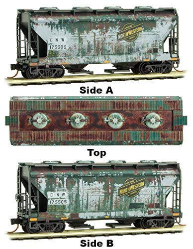 (Micro-Trains MTL N-Scale 2-Bay Covered Hopper Chicago North Western Weathered)