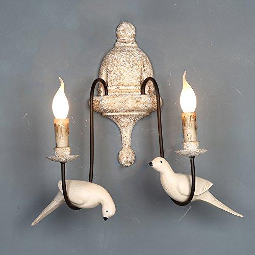 OOFAY Vintage Wall Light Metal Wood Base Resin Bird Candle Light Indoor Home Lights Fixture,2LIGHT