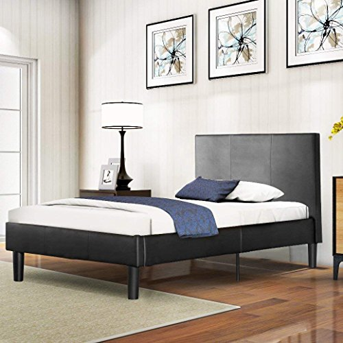 Bed Frame Full With Headboard,JULYFOX Deluxe Faux Leather Upholstered Bed Platform with Wooden Slats Heavy Duty High Bed No Box Spring Needed Black