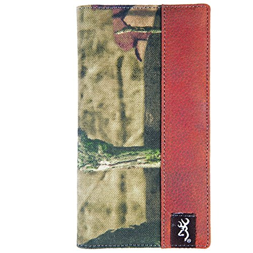 Browning Bi-Fold Executive Camo Wallet (Mossy Oak Infinity Camo, Rugged Cotton Canvas Fabric, Distressed Full-Grain Leather Interior, Closed Size: 3.5
