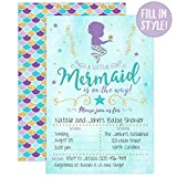 Mermaid Baby Shower Invitation, Blue and Gold
