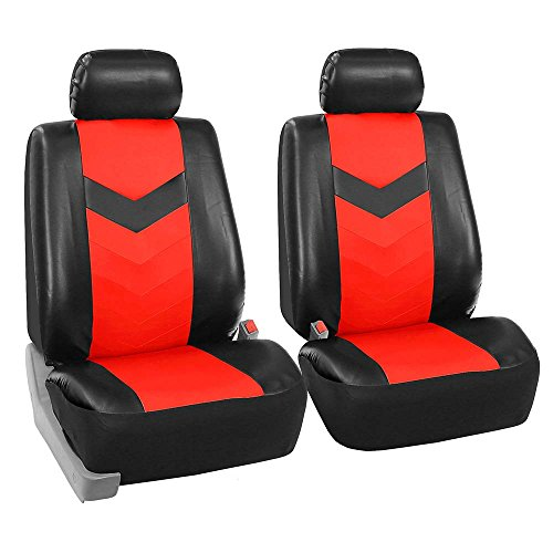 FH Group FH-PU021102 Synthetic Leather Pair Set Car Seat Covers Airbag Compatible, Red/Black Color- (Minimal Black Stains Final Sale) (Nissan Rogue With Leather Seats For Sale)