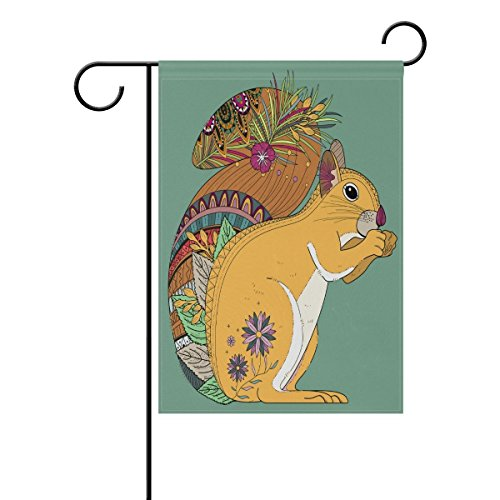 Destiny'S Beautiful Ethnic Style Yellow Squirrel Garden Flag Banner 12.5 x 18 Inch Decorative Garden Flag for Outdoor Lawn and Garden Home Décor -