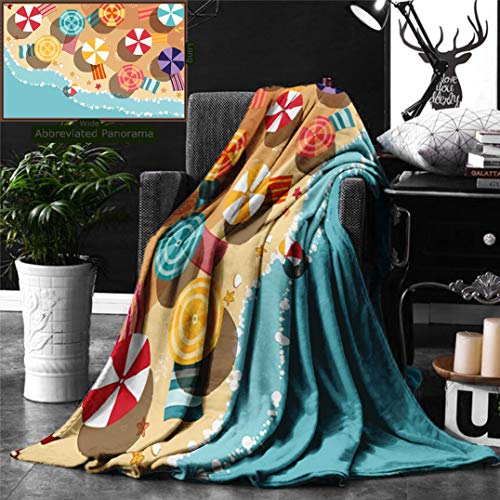 Ralahome Unique Custom Digital Print Flannel Blankets Beach Summertime Seacoast Colorful Umbrellas Stars Flat Design Aerial View Vacati Super Soft Blanketry Bed Couch, Twin Size 70 x 60 Inches