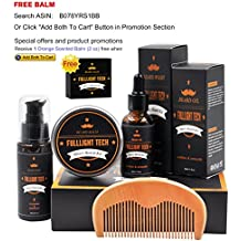 Free Balm Beard Grooming Kit for Men/Dad/Husband Beard Care Gift Sets with Unscented Beard Softening Oil Conditioner+Mustache Balm+Beard Shampoo/Wash+Beard Comb 100% Natural for Moisturizing Growth