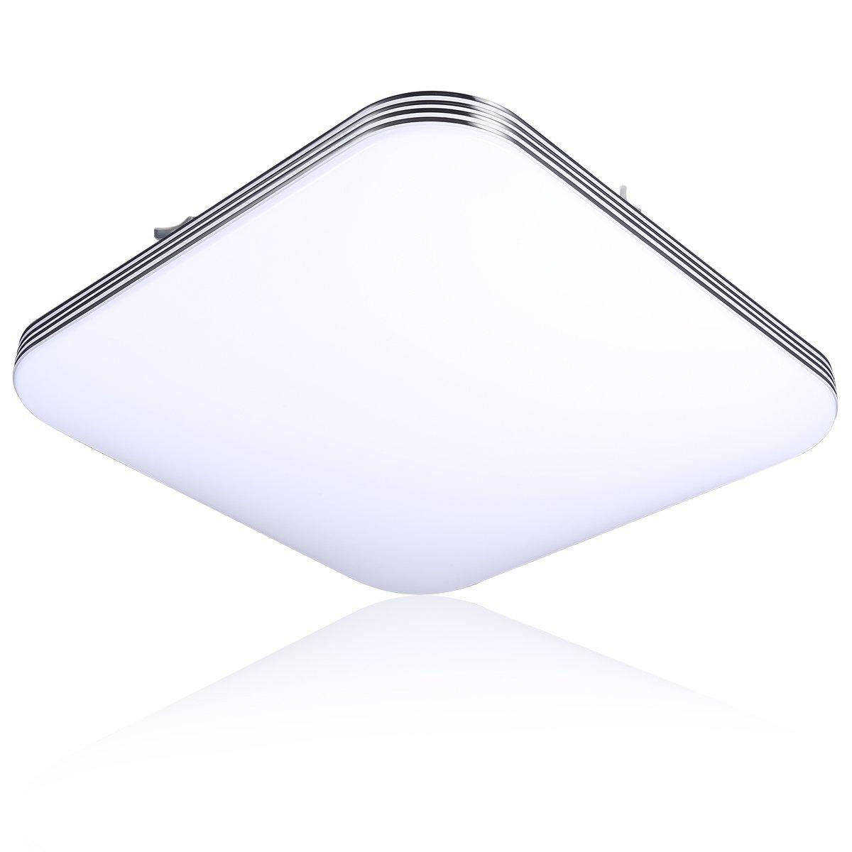 B-right 20W Square LED Flush Mount Ceiling Light, 5000K Cold White, 1400lm Super Bright, 13-Inch