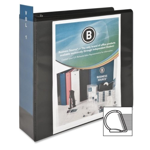 Wholesale CASE of 25 - Bus. Source Basic D-Ring View Binders-D-Ring View Binder, 3'' Capacity, 11x8-1/2'', Black