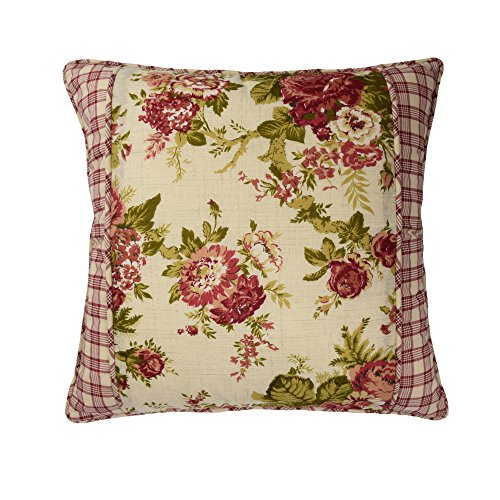 Waverly 14772018X018TSN Norfolk 18-Inch by 18-Inch Square Decorative Pillow, Tea Stain ()
