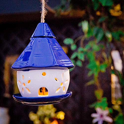 Sungmor Ceramic Hanging Solar Powered Bird Feeder Blue Cabin | Multi-Purpose Garden Decoration Solar Light & Bird Feeder | Christmas Halloween Garden Decor Ornaments -