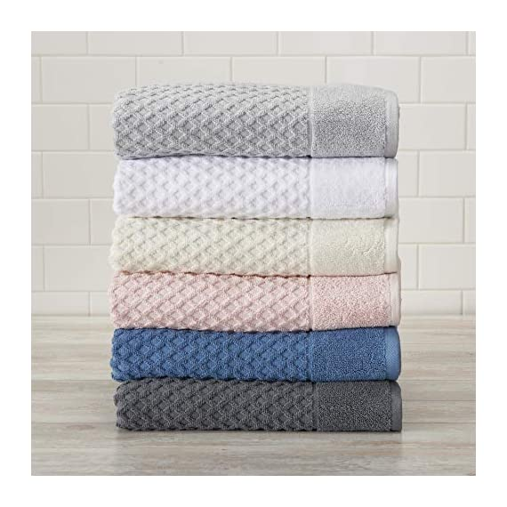 Great Bay Home 100% Cotton Quick-Dry Bath Towel Set (30 x 52 inches) Highly Absorbent, Textured Luxury Bath Towels. Grayson Collection (Set of 4, Optic White) - AFFORDABLE BUNDLE: 4-pack of plush bath towels with a classic and simple pique border and woven detailed pattern. 4 Bath Towels (30 inch x 52 inch) QUICK-DRY, TEXTURED, LATTICE WAFFLE WEAVE: Our Grayson towels are designed to absorb more liquid than ordinary towels, and they dry quickly and completely. SUPER SOFT: These cotton bath towels feel super soft against your skin. Plus, they add a clean and modern look to your bathroom. - bathroom-linens, bathroom, bath-towels - 5108y%2BB052L. SS570  -