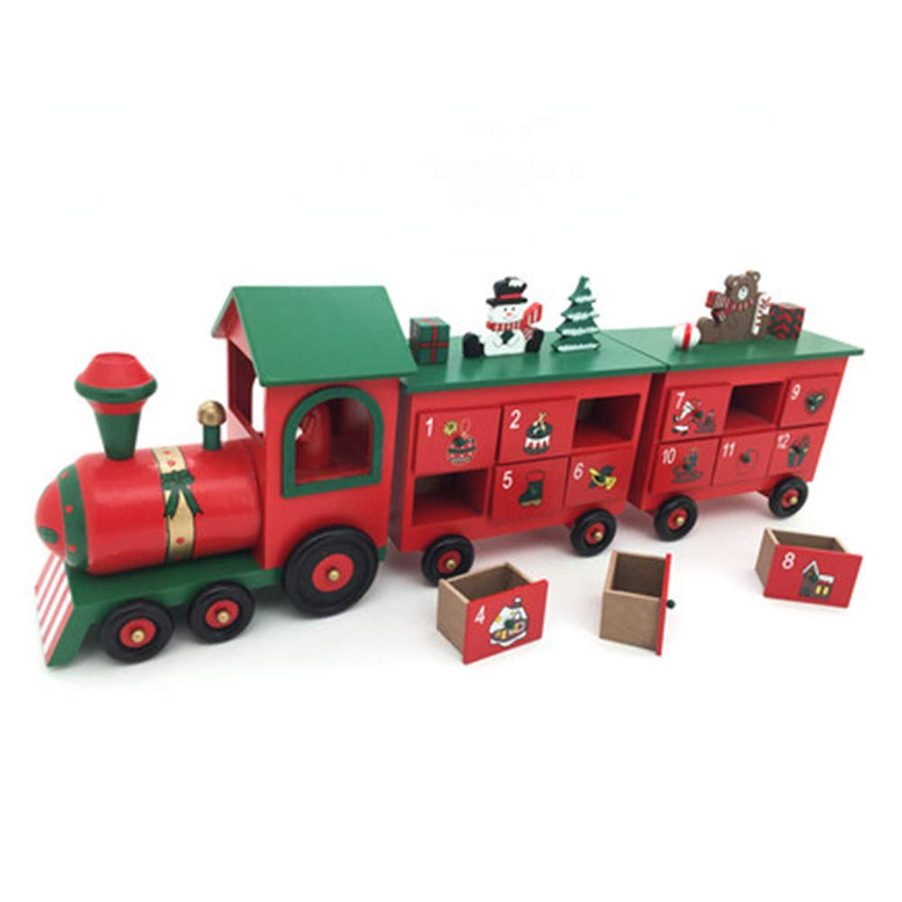 LIAN Christmas 3 Section Train Countdown Calendar Decoration Gift