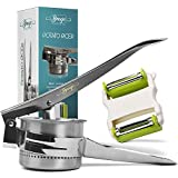 Pro Potato Ricer Masher W/ Peeler Shredder: No Hand Pain! Press & Mash Foods W/ Stainless Steel Mashed Potatoes Maker. Spud Smasher, Cauliflower Presser, Baby Food Strainer, Spaetzli & Gnocchi Ricers
